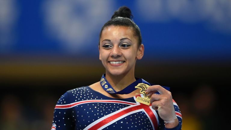 Britain's Rebecca Downie won gold on the bars
