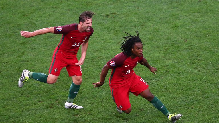 Renato Sanches celebrates his equaliser for Portugal