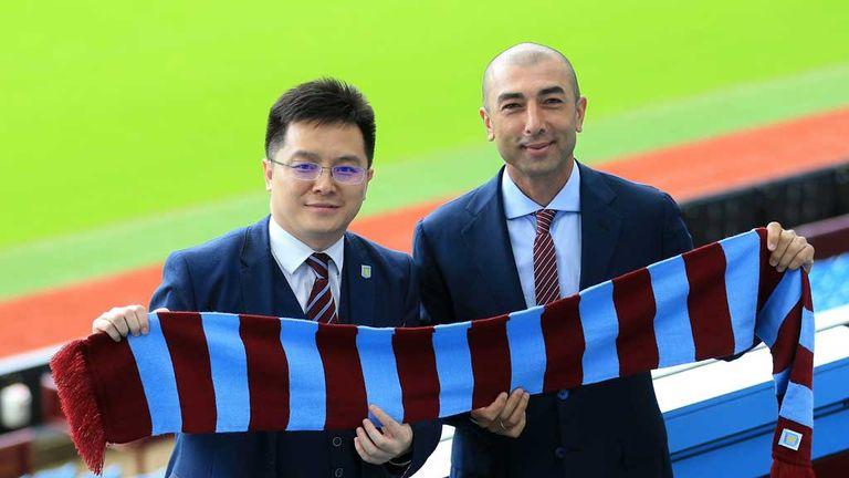 Roberto Di Matteo pictured with Aston Villa owner Tony Xia