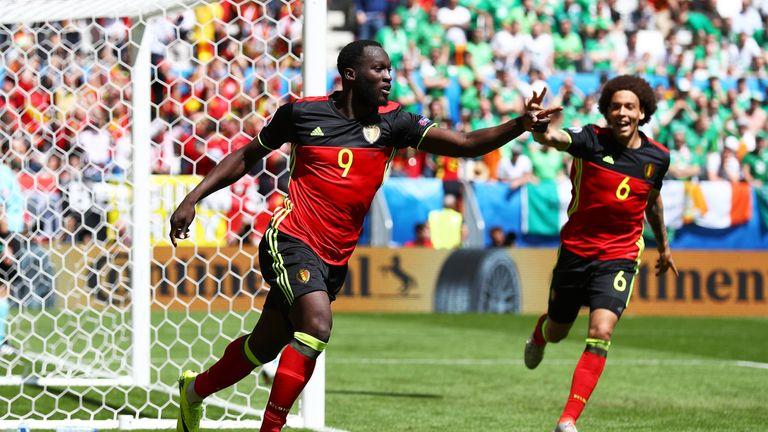 Romelu Lukaku of Belgium celebrates scoring his team's first goal