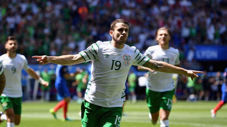 Robbie Brady of Republic of Ireland celebrates scoring the opening goal