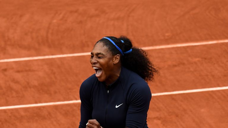PARIS, FRANCE - JUNE 03:  Serena Williams of the United States celebrates victory during the Ladies Singles semi final match against Kiki Bertens of Nether