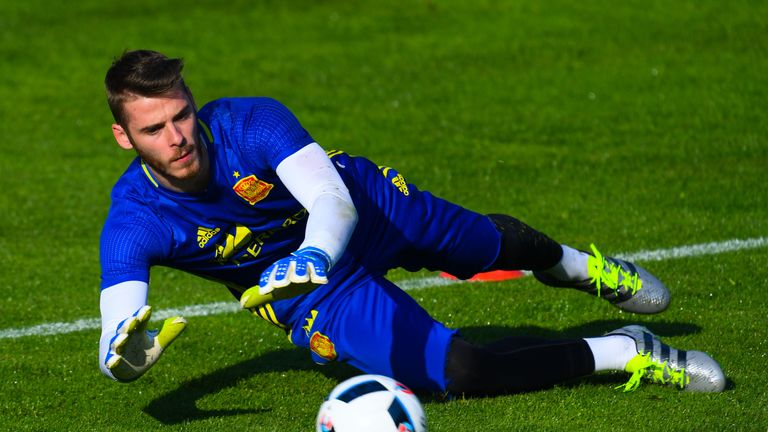 Spain goalkeeper David de Gea during a training session