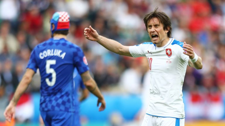 Tomas Rosicky of Czech Republic celebrates after his side score their first goal through Milan Skoda during the UEFA EURO 2016 Group D match v Croatia
