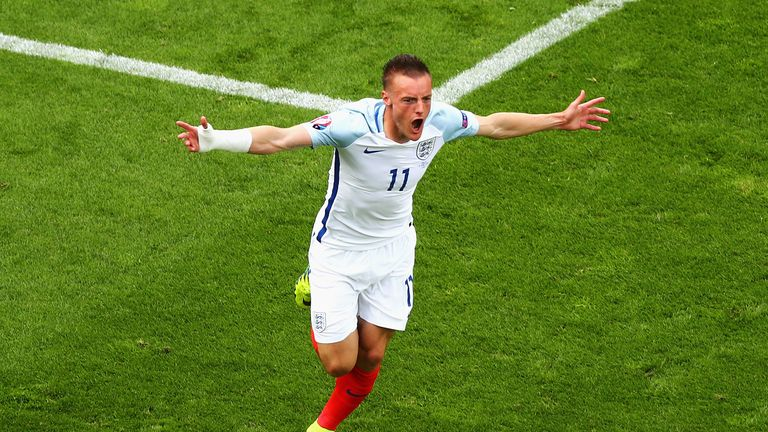 Jamie Vardy of England celebrates scoring England's first goal during the UEFA EURO 2016 Group B match between England and Wales a