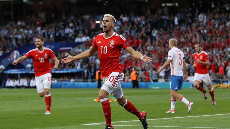 Aaron Ramsey wheels away in delight having opened the scoring