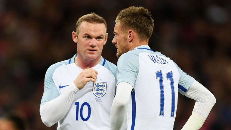 LONDON, ENGLAND - JUNE 02:  Wayne Rooney (L) and Jamie Vardy (R) of England speak during the international friendly match between England and Portugal at W