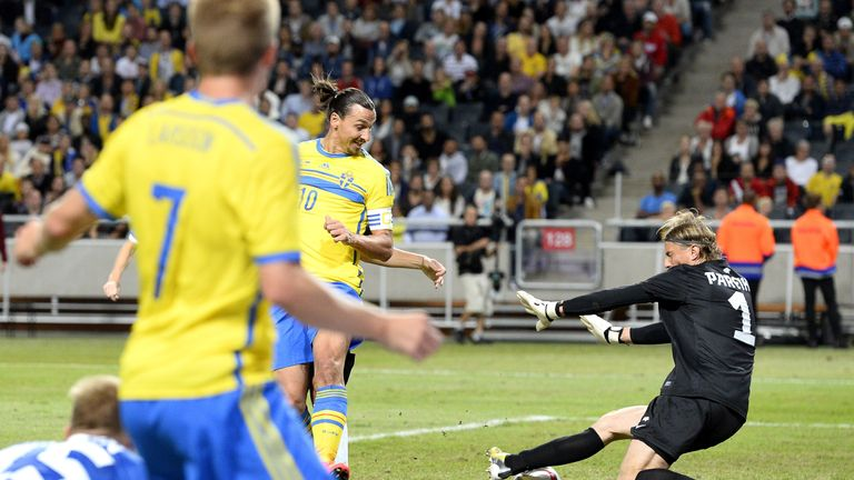 Ibrahimovic flicked home his record-breaking goal against Estonia