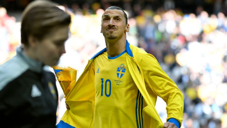 Zlatan Ibrahimovic before the international friendly between Sweden and Wales