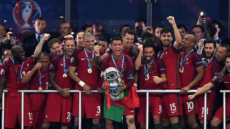 Cristiano Ronaldo of Portugal (c) lifts the European Championship trophy