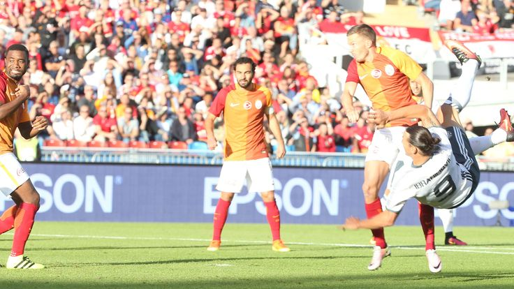 Zlatan Ibrahimovic of Manchester United scores their first goal during the pre-season friendly between Manchester United and Galatasaray.