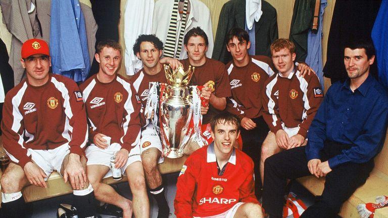 Eric Cantona, Nicky Butt, Ryan Giggs, David Beckham, Gary Neville, Paul Scholes, Roy Keane and Phil Neville