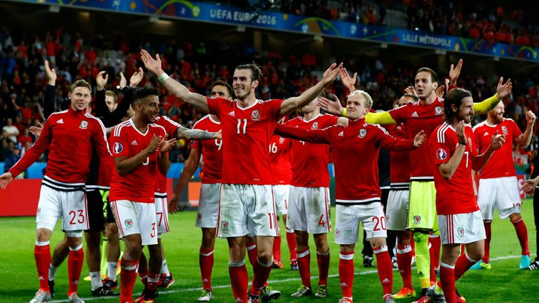 Bale celebrates the victory over Belgium with team-mates