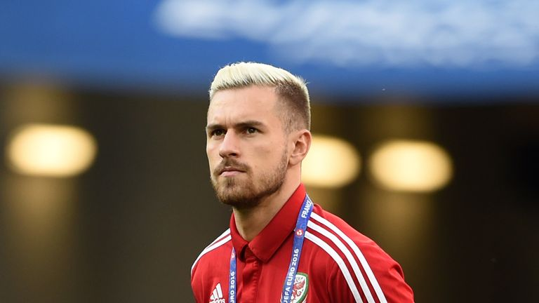 Wales' Aaron Ramsey before the UEFA Euro 2016, semi-final match v Portugal at the Stade de Lyon