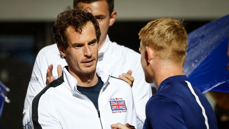 Murray cheered on his GB team-mates as they beat Serbia in the Davis Cup