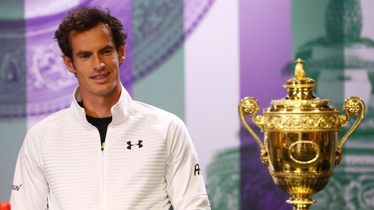 Andy Murray of Great Britain attends the winner's press conference at Wimbledon