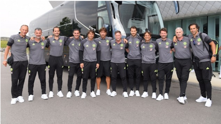 Antonio Conte (fifth from left) has assembled his backroom team (pic from chelseafc.com)