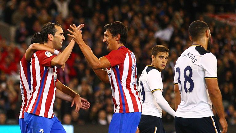 Diego Godin of Atletico Madrid celebrates after scoring their first goal