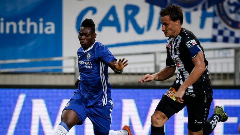 VELDEN, AUSTRIA - JULY 20:  Christian Atsu (L) of Chelsea in action against Dario Baldauf (R) of WAC RZ Pellets the friendly match between WAC RZ Pellets a