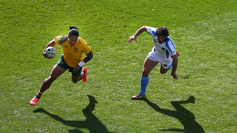 Tomane during Australia's World Cup match against Uruguay last autumn