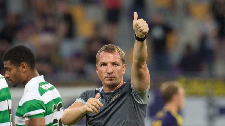 Celtic manager Brendan Rodgers gives thumbs up to fans after 0-0 draw with Maribor