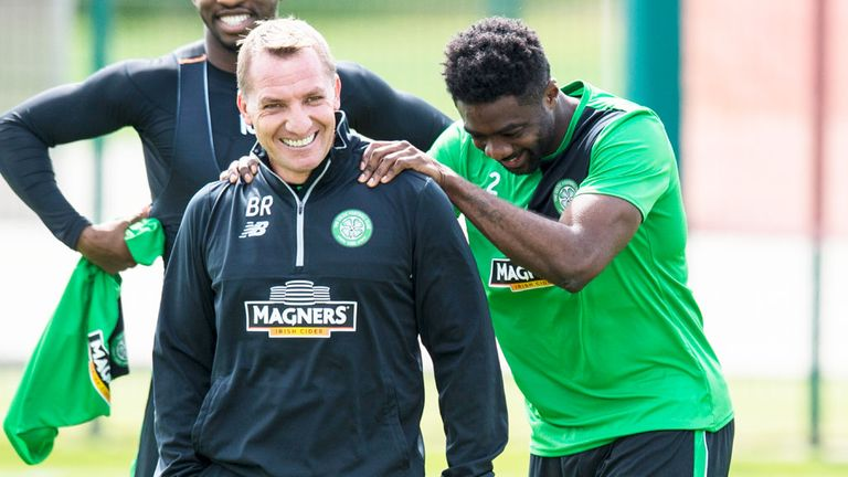 Celtic boss Brendan Rodgers and Kolo Toure share a laugh in training