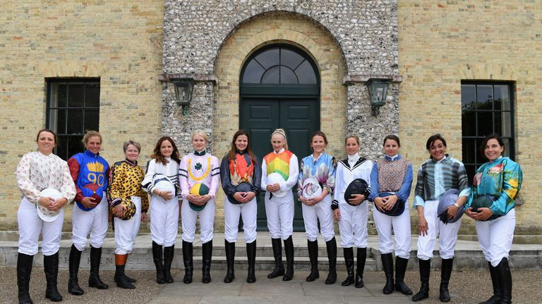 Riders of the 2016 Magnolia Cup pose for a photo as they arrive at the Qatar Goodwood Festival 2016