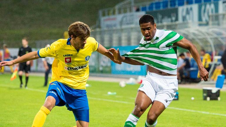 Celtic's Saidy Janko (right) battles with Ziga Kous of Celje