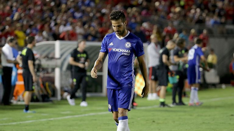 PASADENA, CA - JULY 27:  Cesc Fabregas #4 of Chelsea is sent off in the second half after receiving a red card against Liverpool during the 2016 Internatio