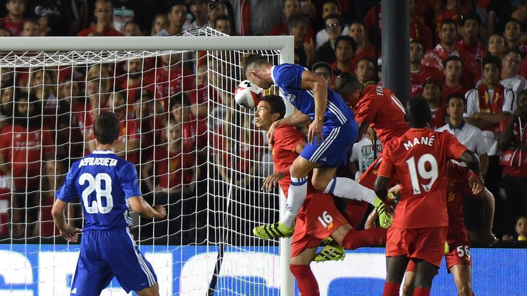 Defender Gary Cahill of Chelsea heads the opening goal in the 1-0 win over Liverpool in California