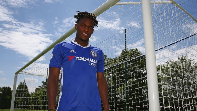 Chelsea FC new signing Michy Batshuayi at Chelsea Training Ground on July 3, 2016 in Cobham, England
