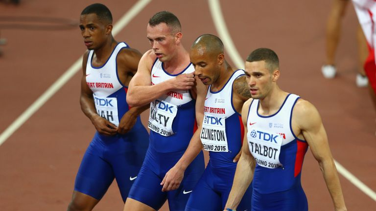 Chijindu Ujah and James Ellington with former 4x100m team mates Richard Kilty and Daniel Talbot after failing to finish in Beijing