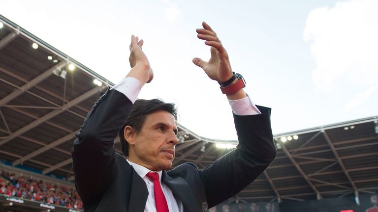 CARDIFF, WALES - JULY 08: Wales' manager Chris Coleman claps during a ceremony at the Cardiff City Stadium on July 8, 2016 in Cardiff, Wales. The players t