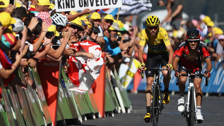 Froome followed Richie Porte over the finish line