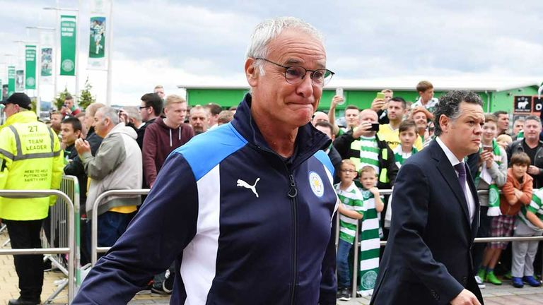 Leicester City manager Claudio Ranieri arrives at Celtic Park July 23 2016