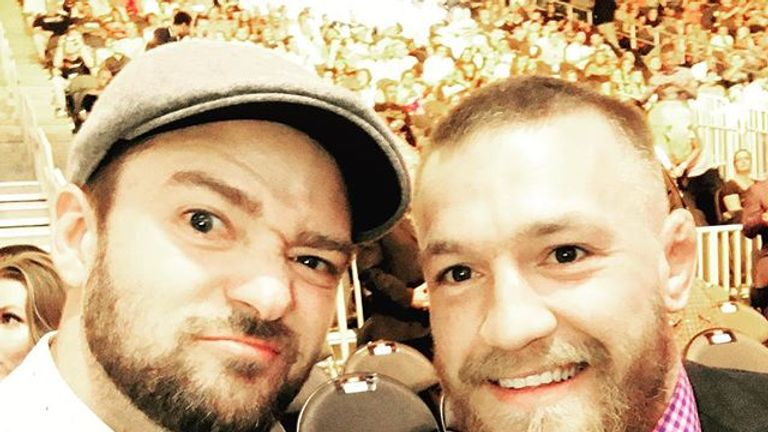 Justin Timberlake hanging out with McGregor at UFC 200 - Credit: Instagram/justintimberlake