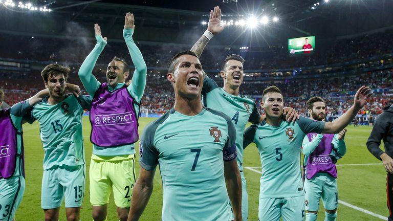 (L-R) Andre Gomes of Portugal, goalkeeper Eduardo of Portugal, Cristiano Ronaldo of Portugal, Jose Fonte  of Portugal, Raphael Guerreiro of Portugal, Rafa