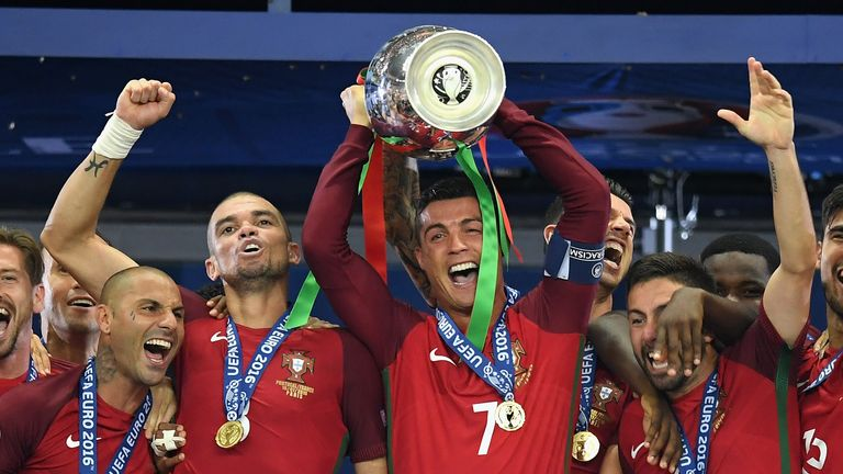 Cristiano Ronaldo of Portugal lifts the European Championship trophy