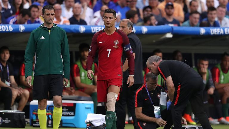 Cristiano Ronaldo tried to carry on in the Euro 2016 final with his left knee heavily strapped but eventually was forced off