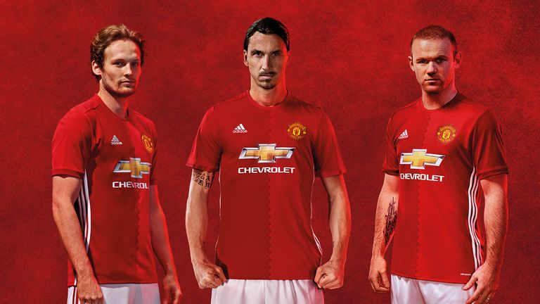 Daley Blind, Zlatan Ibrahimovic and Wayne Rooney in the adidas Manchester United home kit for 2016/17