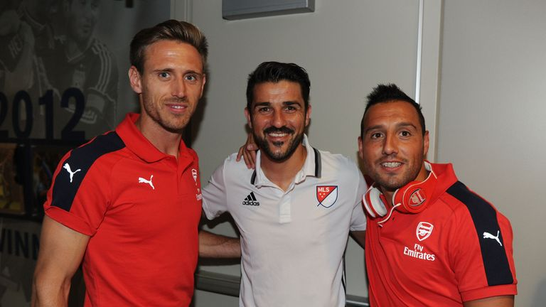 (left to right) Nacho Monreal, David Villa and Santi Cazorla smile for the camera