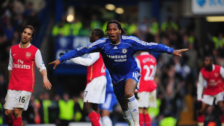 LONDON - MARCH 23:  Didier Drogba of Chelsea celebrates as he scores their second goal during the Barclays Premier League match between Chelsea and Arsenal