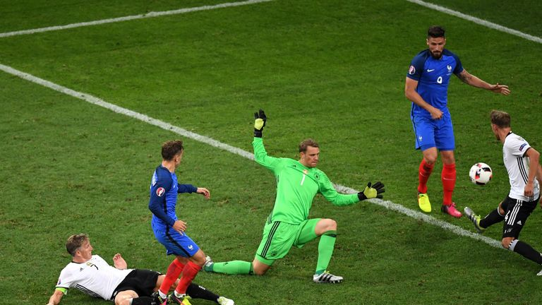 Antoine Griezmann of France scores his team's second goal during the UEFA EURO semi final match between Germany and France