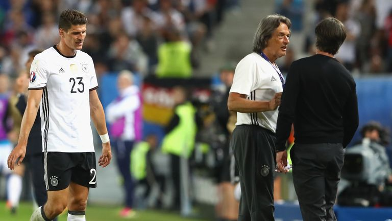 Mario Gomez (left) has been ruled out of the remainder of Euro 2016 with injury