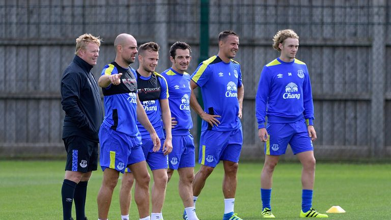 HALEWOOD, ENGLAND - JULY 5:  (EXCLUSIVE COVERAGE) Everton players at Ronald Koeman's first training session as Everton manager at Finch Farm on July 5, 201