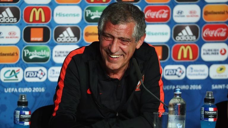 Portugal coach Fernando Santos was relaxed as he addressed the media before tomorrow's game against France