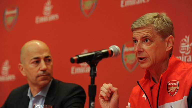 Arsenal's Arsene Wenger and chief executive Ivan Gazidis at  on July 24, 2014 in New York, New York.