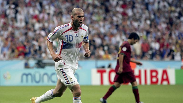 Zinedine Zidane of France celebrates after scoring the opening goal from the penalty spot during the 2006 World Cup