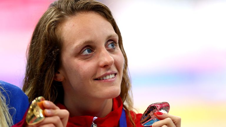 LONDON, ENGLAND - MAY 17:  Francesca Halsall of Great Britain poses with her Bronze medal after coming third in the Women's 50m Butterfly Final on day nine