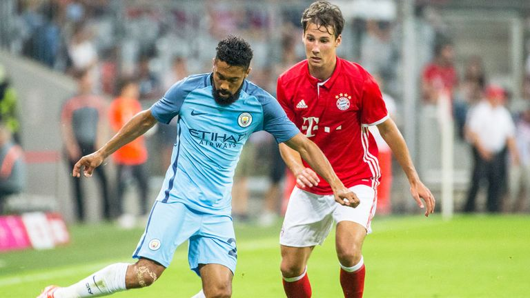 Manchester City defender Gael Clichy on the ball against Bayern Munich in a recent friendly